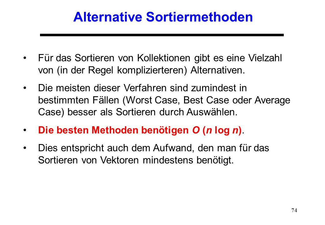 Alternative Sortiermethoden