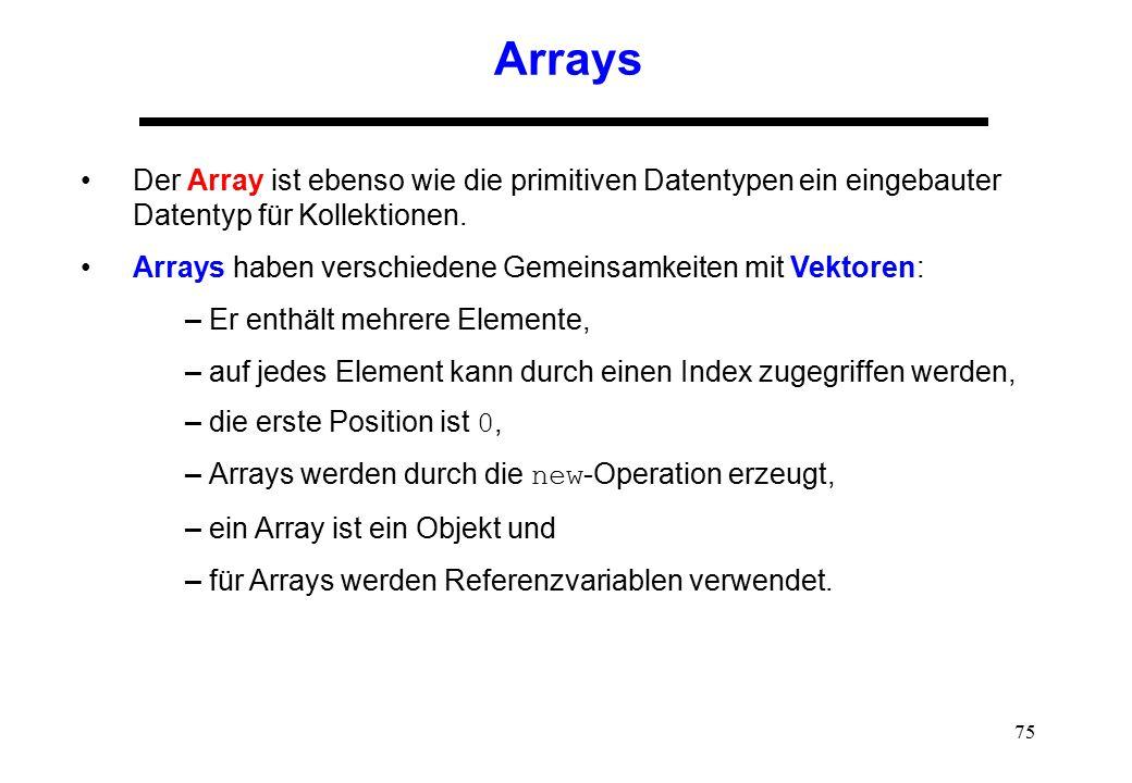 Arrays Der Array ist ebenso wie die primitiven Datentypen ein eingebauter Datentyp für Kollektionen.