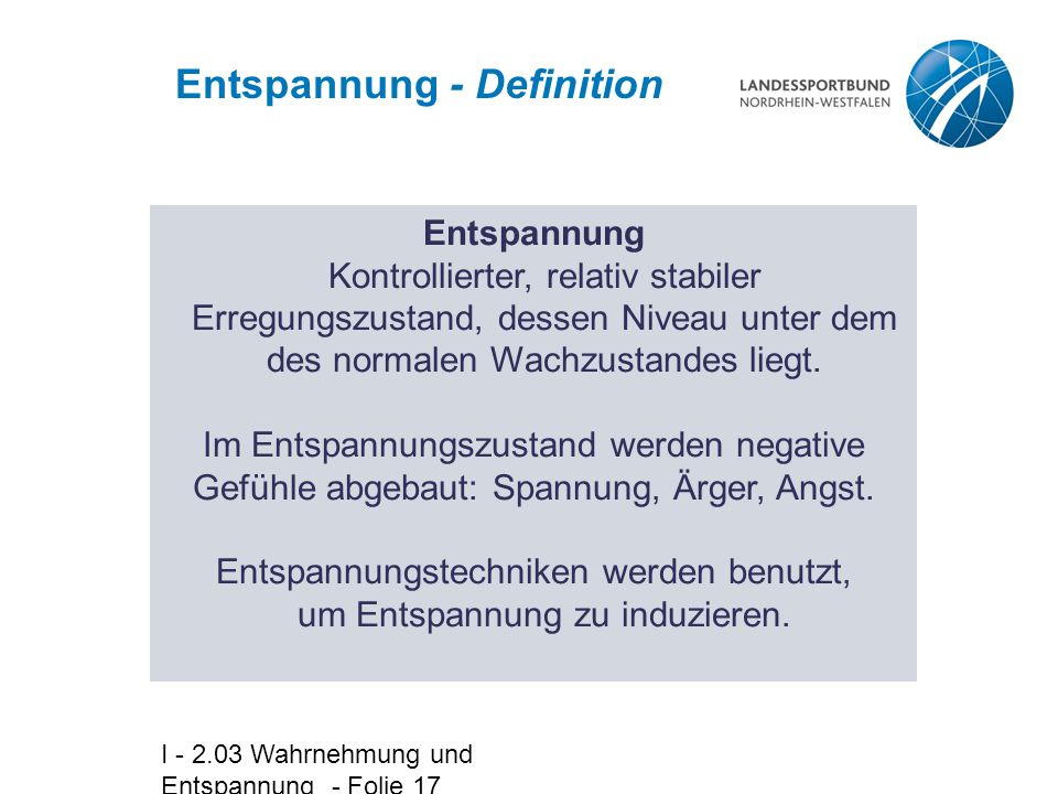 Entspannung - Definition