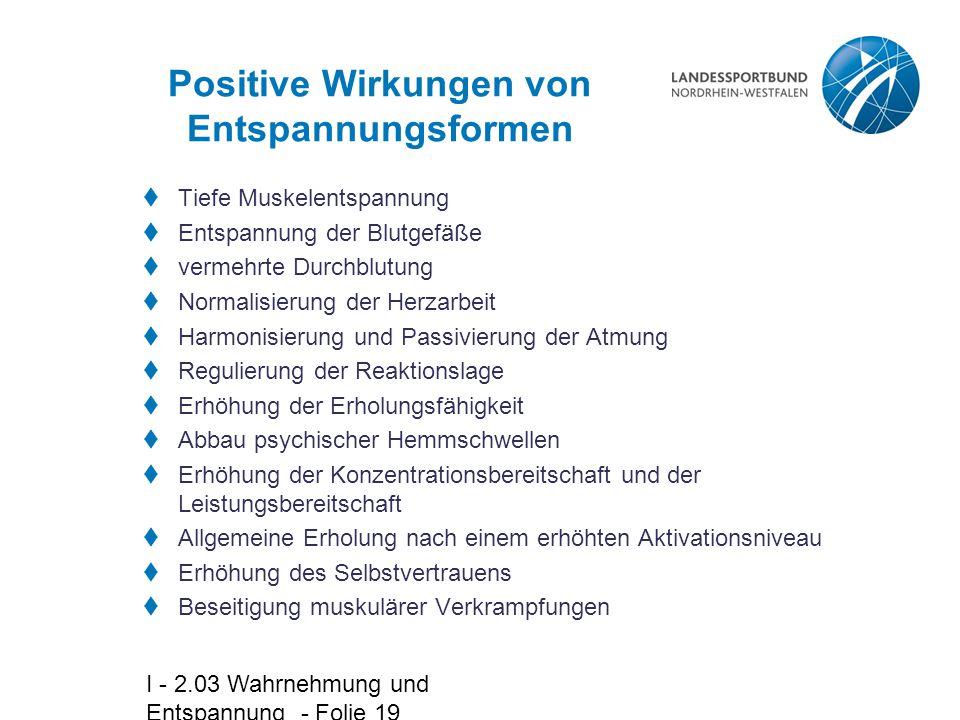 Positive Wirkungen von Entspannungsformen