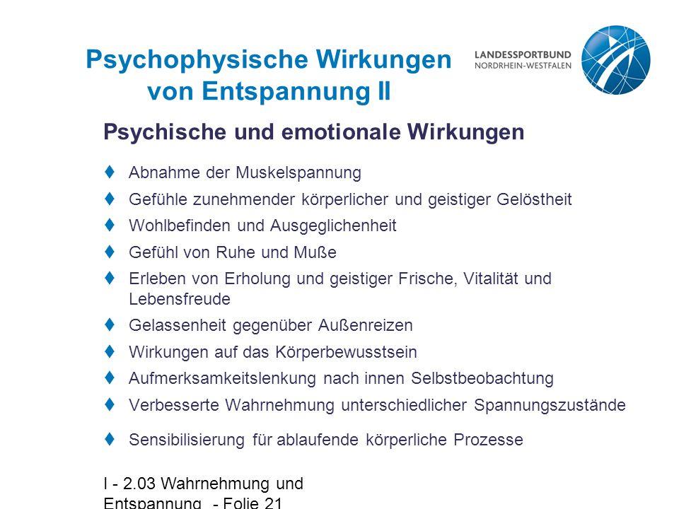 Psychophysische Wirkungen von Entspannung II