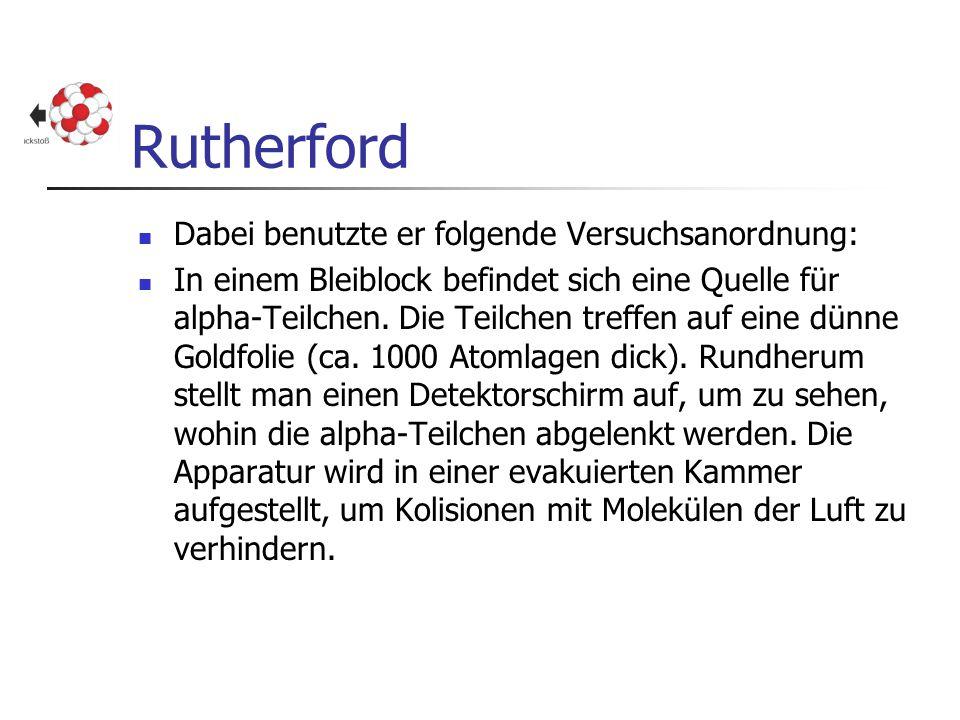 Rutherford Dabei benutzte er folgende Versuchsanordnung: