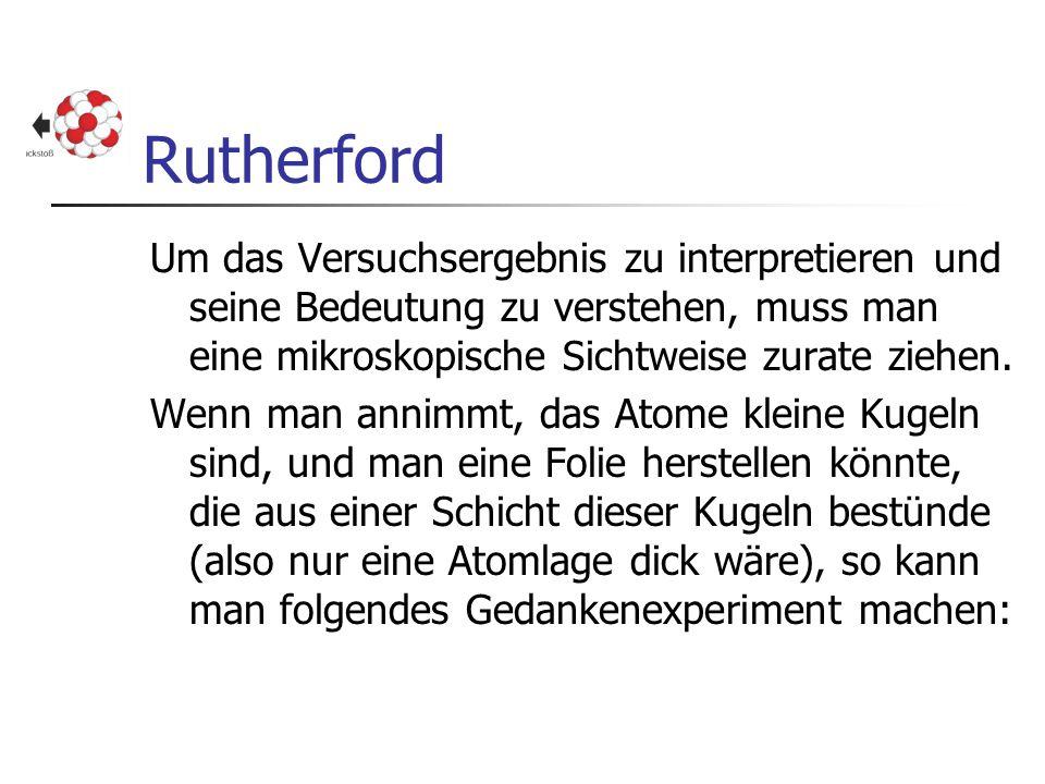 Rutherford Um das Versuchsergebnis zu interpretieren und seine Bedeutung zu verstehen, muss man eine mikroskopische Sichtweise zurate ziehen.