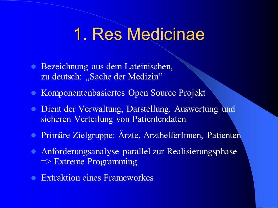 """1. Res Medicinae Bezeichnung aus dem Lateinischen, zu deutsch: """"Sache der Medizin Komponentenbasiertes Open Source Projekt."""