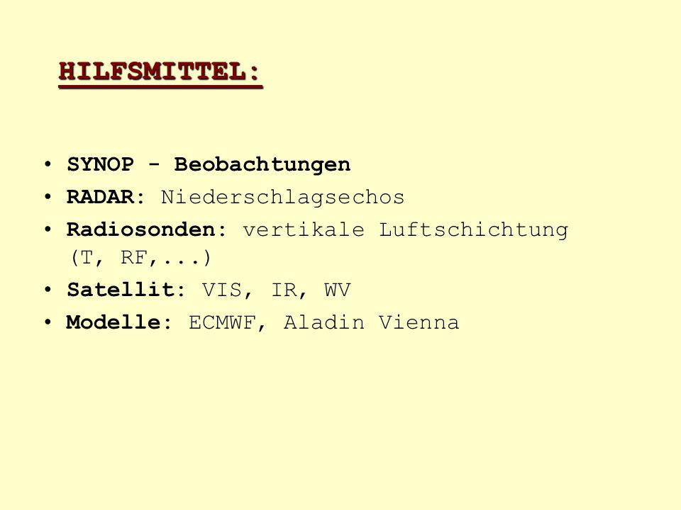 HILFSMITTEL: SYNOP - Beobachtungen RADAR: Niederschlagsechos