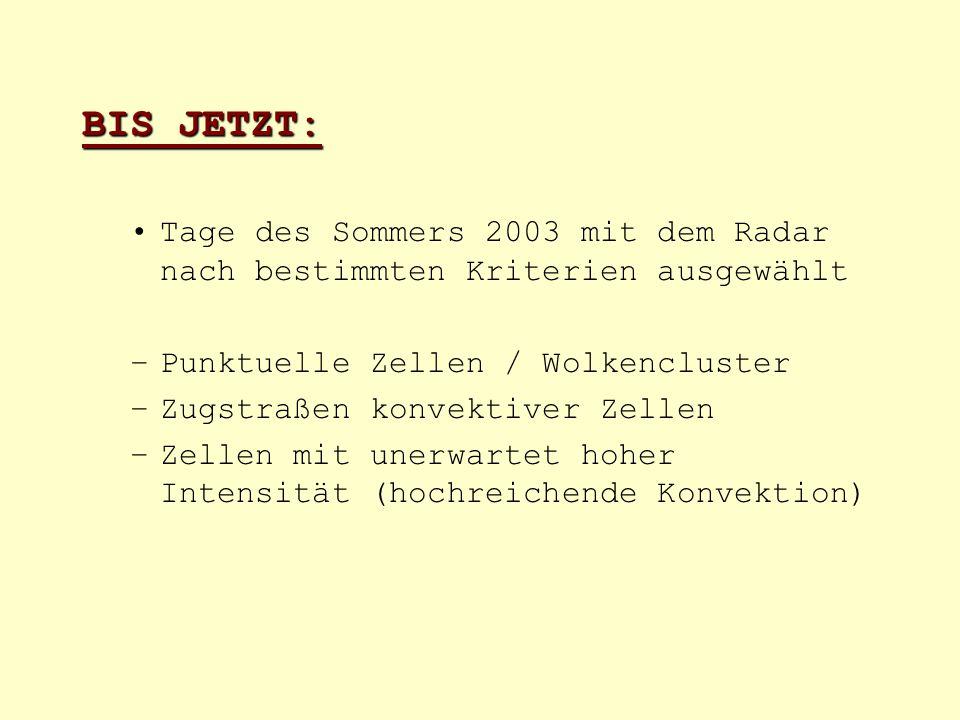 BIS JETZT: Tage des Sommers 2003 mit dem Radar nach bestimmten Kriterien ausgewählt. Punktuelle Zellen / Wolkencluster.