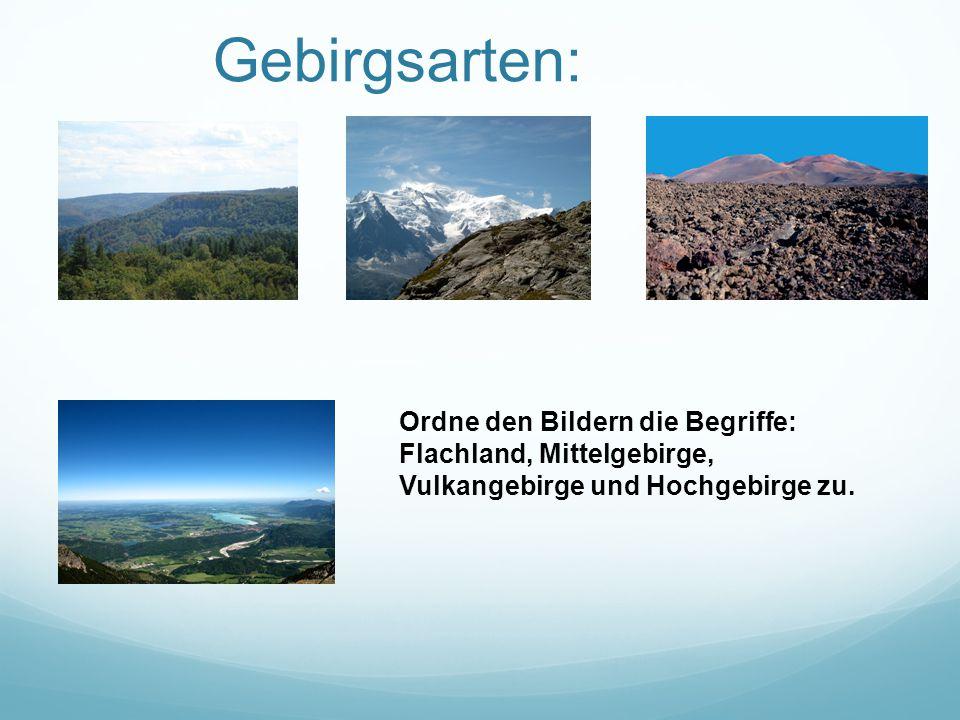 Gebirgsarten: Ordne den Bildern die Begriffe: Flachland, Mittelgebirge, Vulkangebirge und Hochgebirge zu.