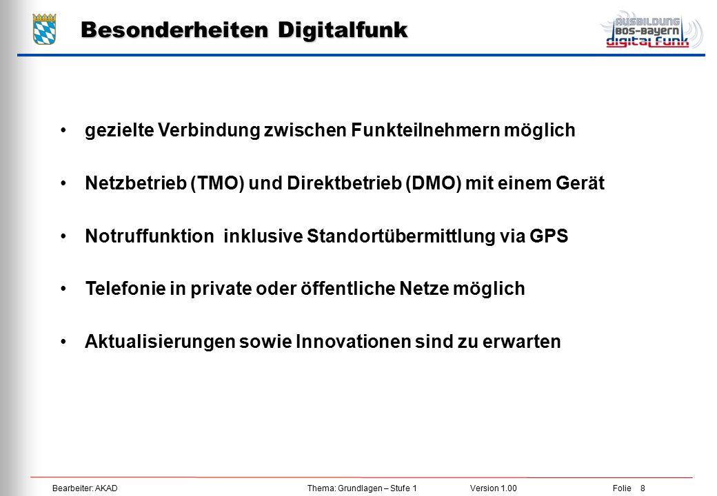 Besonderheiten Digitalfunk