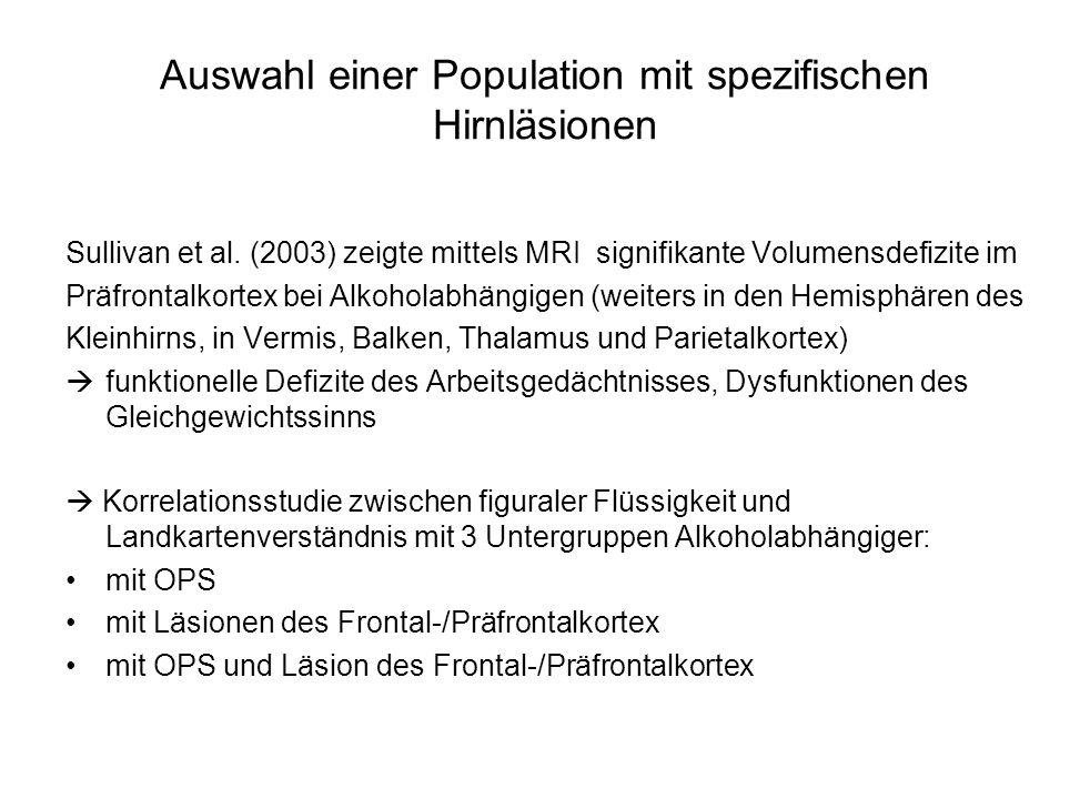Auswahl einer Population mit spezifischen Hirnläsionen