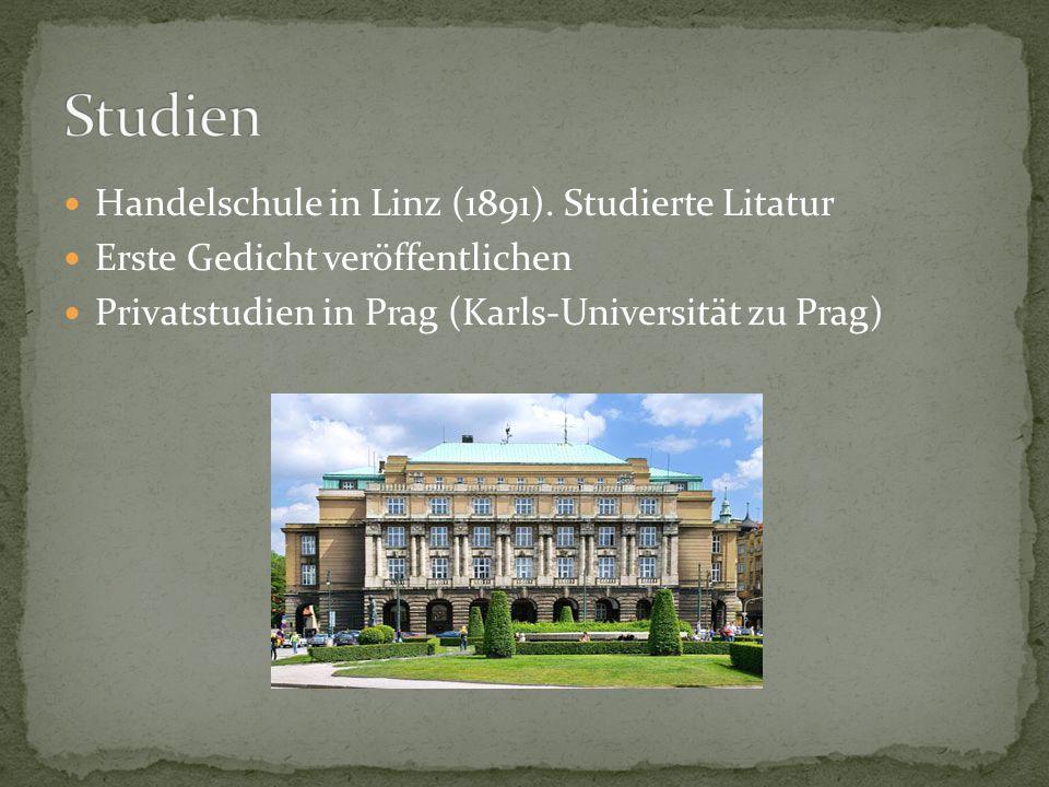 Studien Handelschule in Linz (1891). Studierte Litatur
