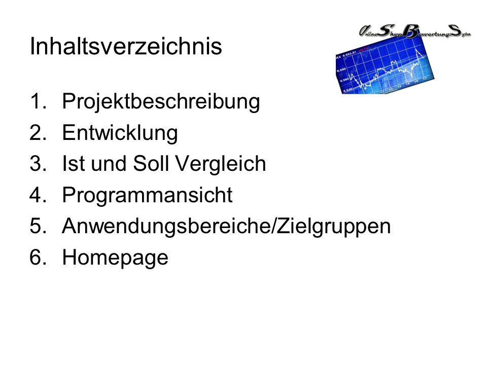 Inhaltsverzeichnis Projektbeschreibung Entwicklung