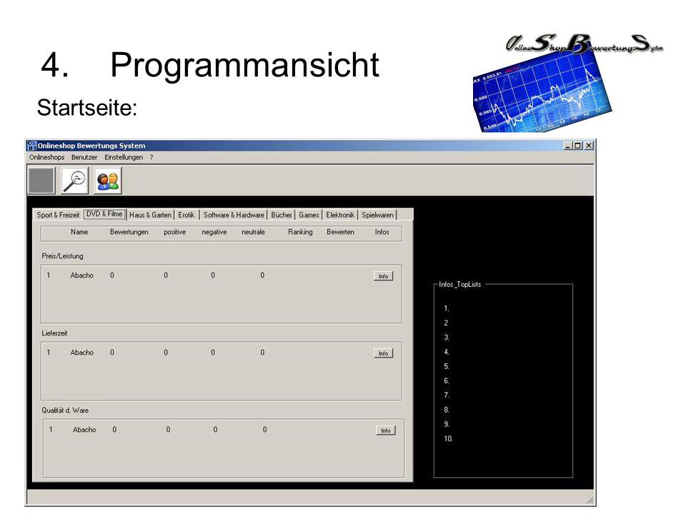 4. Programmansicht Startseite: