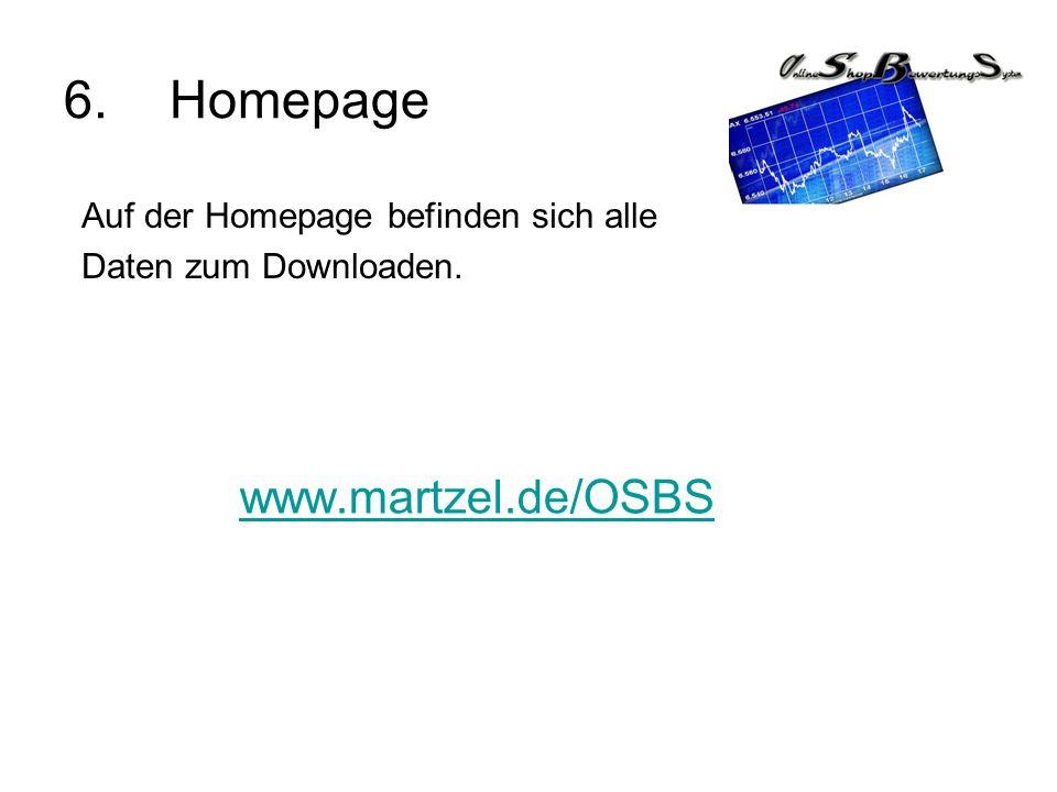 6. Homepage www.martzel.de/OSBS Auf der Homepage befinden sich alle