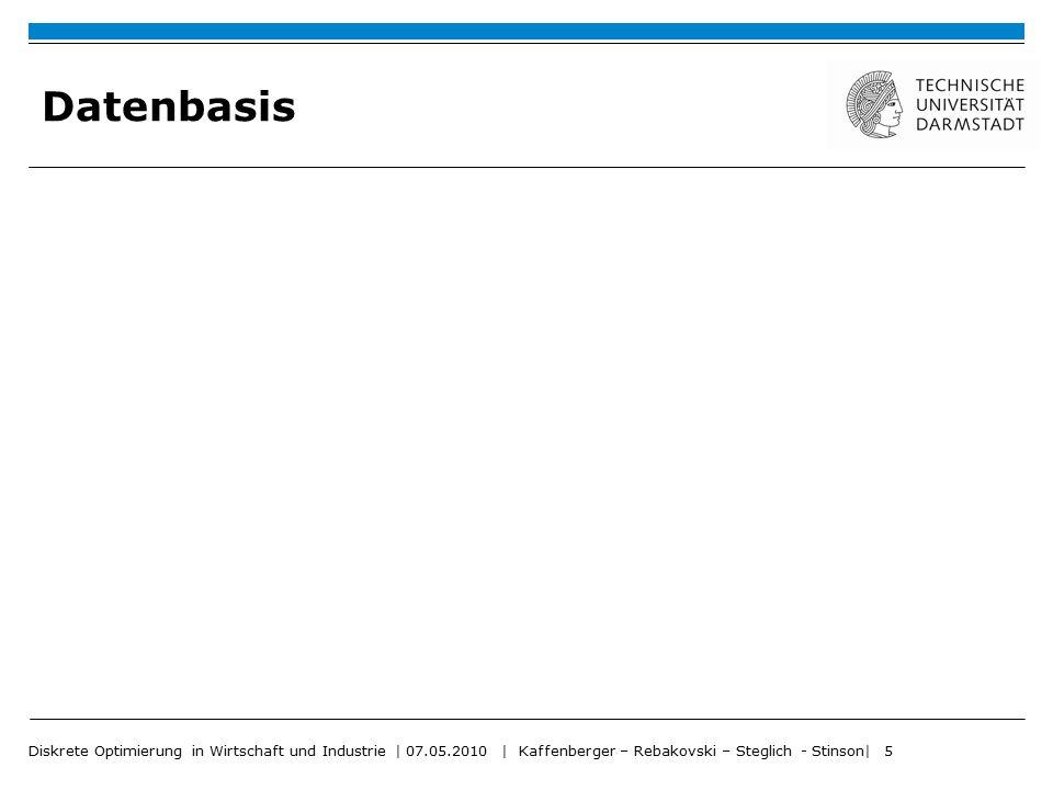 Datenbasis Diskrete Optimierung in Wirtschaft und Industrie | 07.05.2010 | Kaffenberger – Rebakovski – Steglich - Stinson| 5.