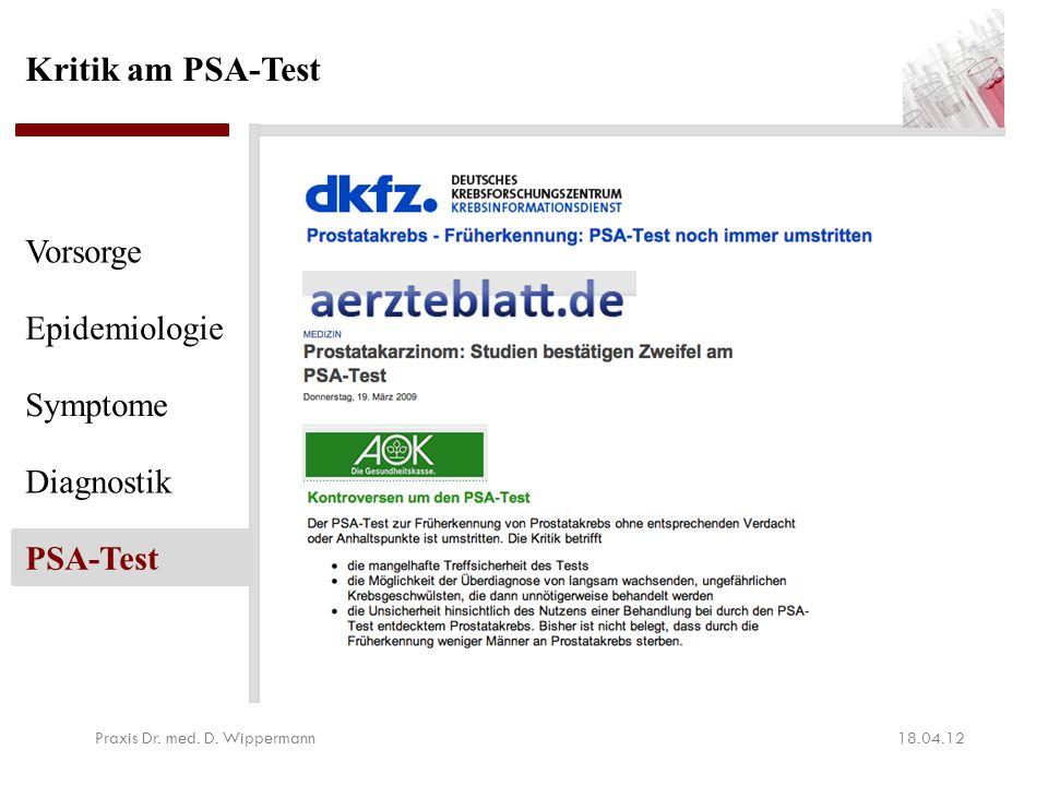 Kritik am PSA-Test aus ärztlicher Sicht