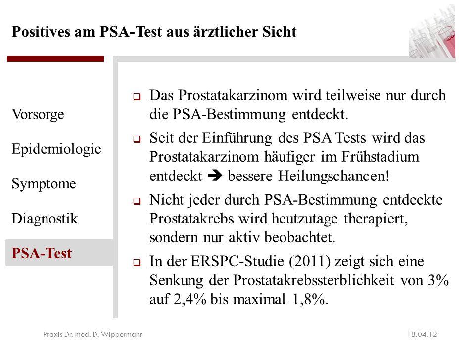 Fazit der PSA gesteuerten Vorsorgeuntersuchung