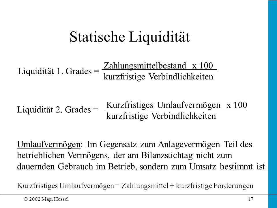 Statische Liquidität Zahlungsmittelbestand x 100