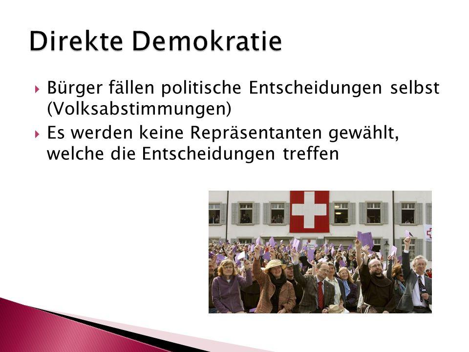Direkte Demokratie Bürger fällen politische Entscheidungen selbst (Volksabstimmungen)