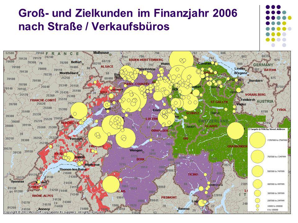 Groß- und Zielkunden im Finanzjahr 2006 nach Straße / Verkaufsbüros