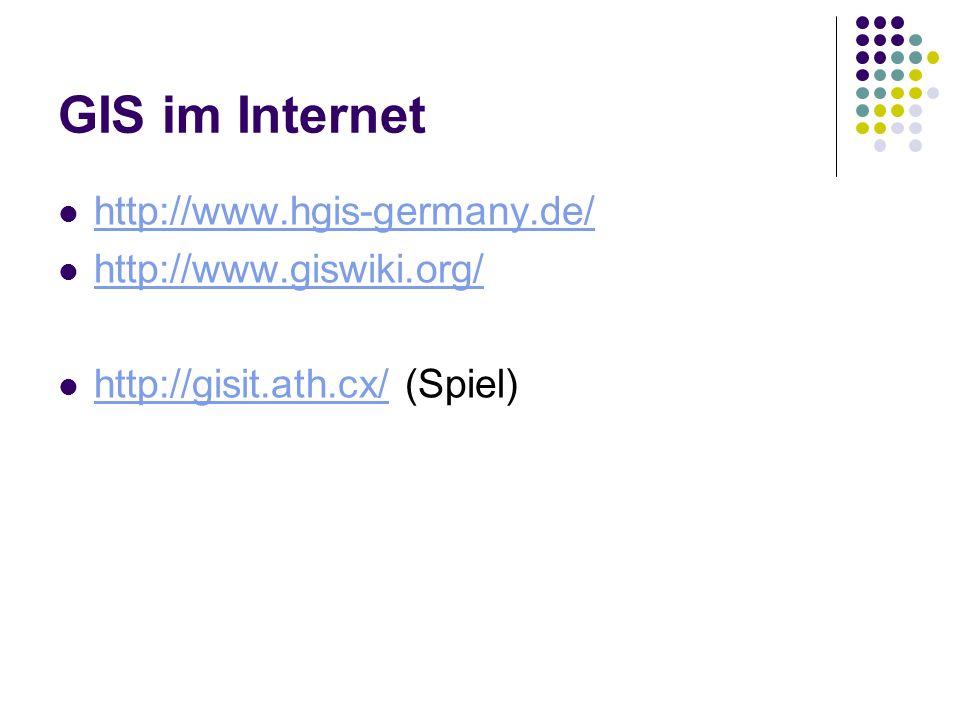 GIS im Internet http://www.hgis-germany.de/ http://www.giswiki.org/