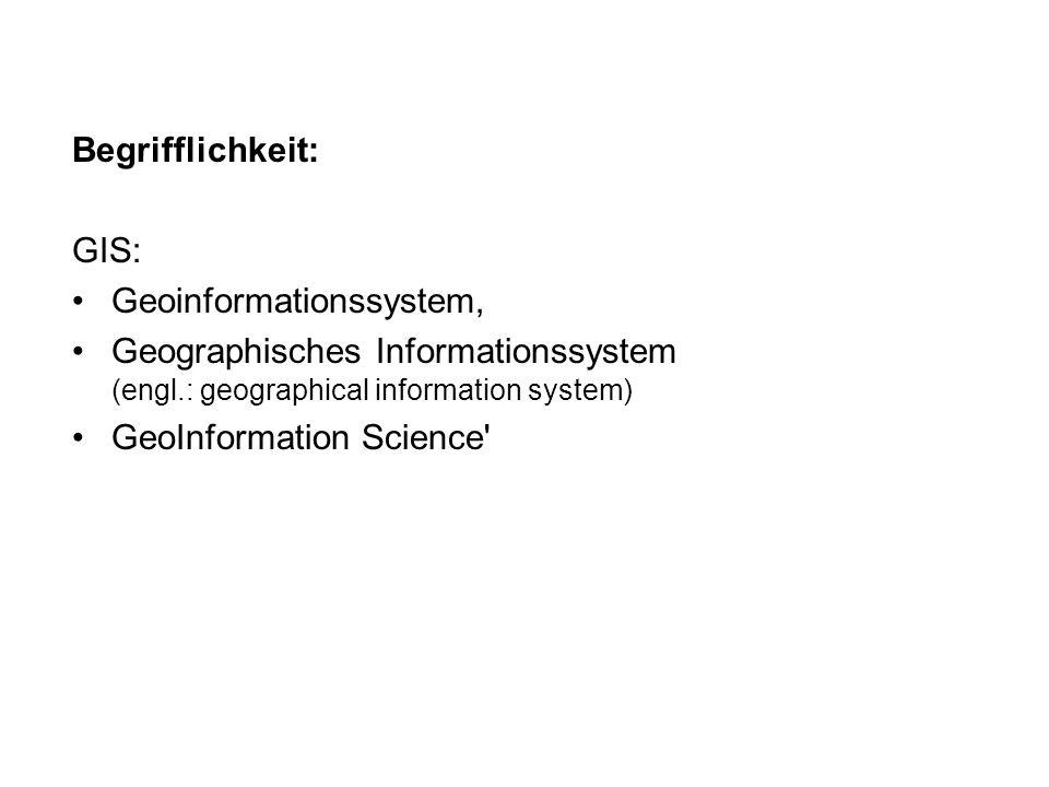 Begrifflichkeit: GIS: Geoinformationssystem, Geographisches Informationssystem (engl.: geographical information system)