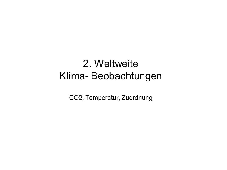 2. Weltweite Klima- Beobachtungen CO2, Temperatur, Zuordnung