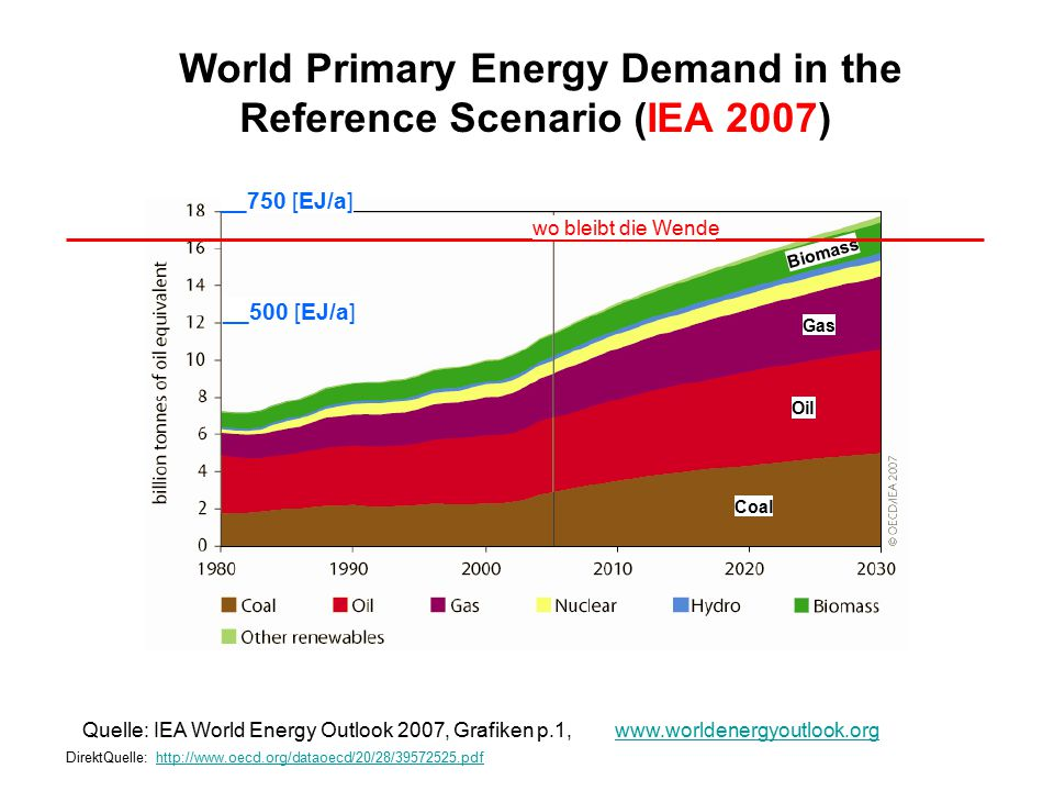 World Primary Energy Demand in the Reference Scenario (IEA 2007)