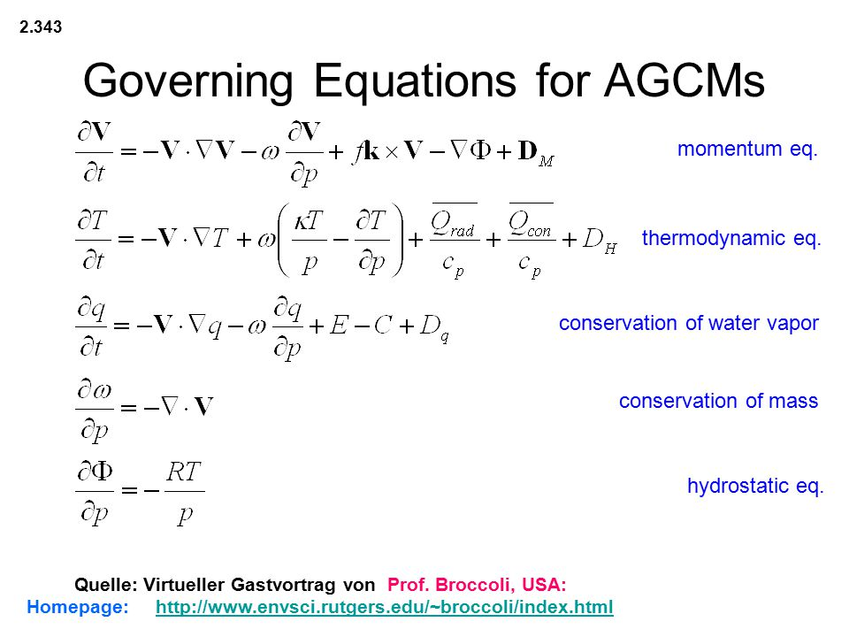 Governing Equations for AGCMs