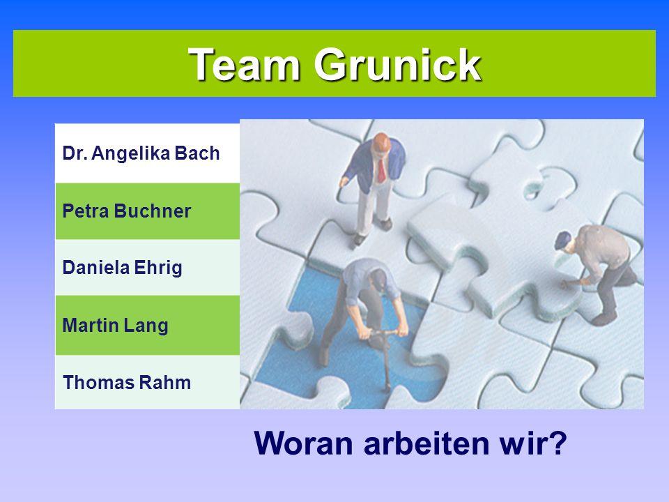 Team Grunick Woran arbeiten wir Dr. Angelika Bach Seminarlehrerin I