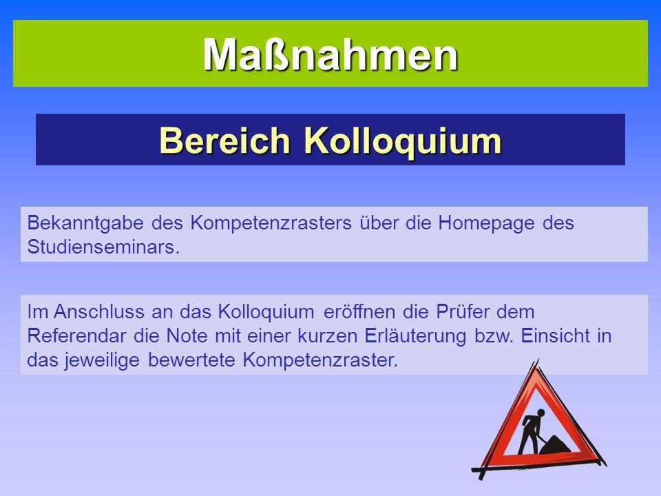 Maßnahmen Bereich Kolloquium