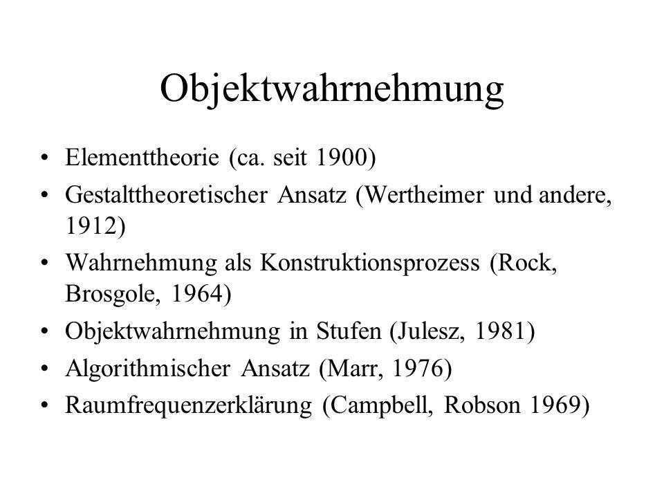 Objektwahrnehmung Elementtheorie (ca. seit 1900)