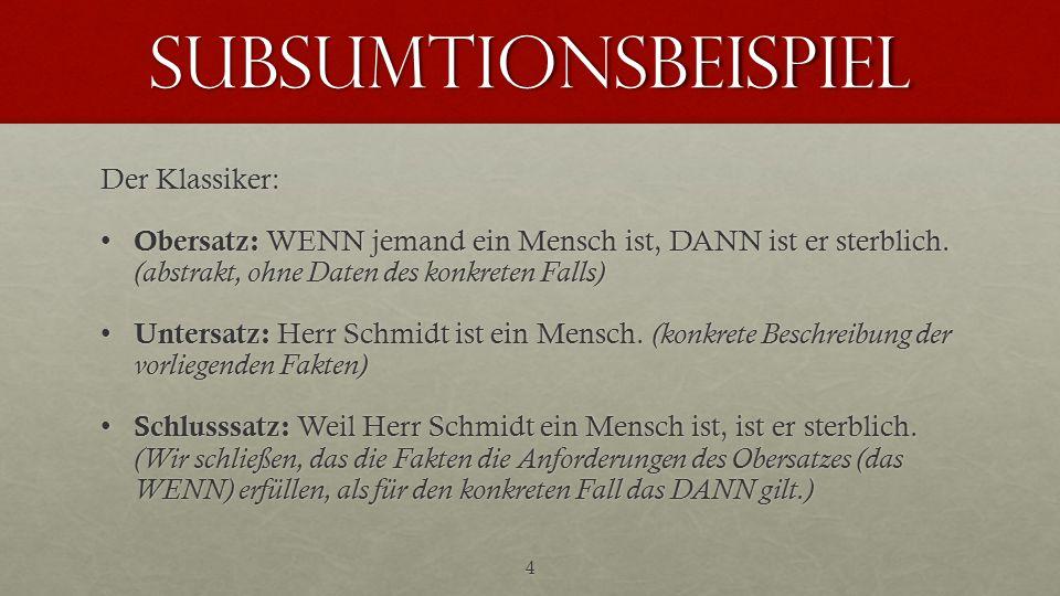subsumtionsbeispiel Der Klassiker: