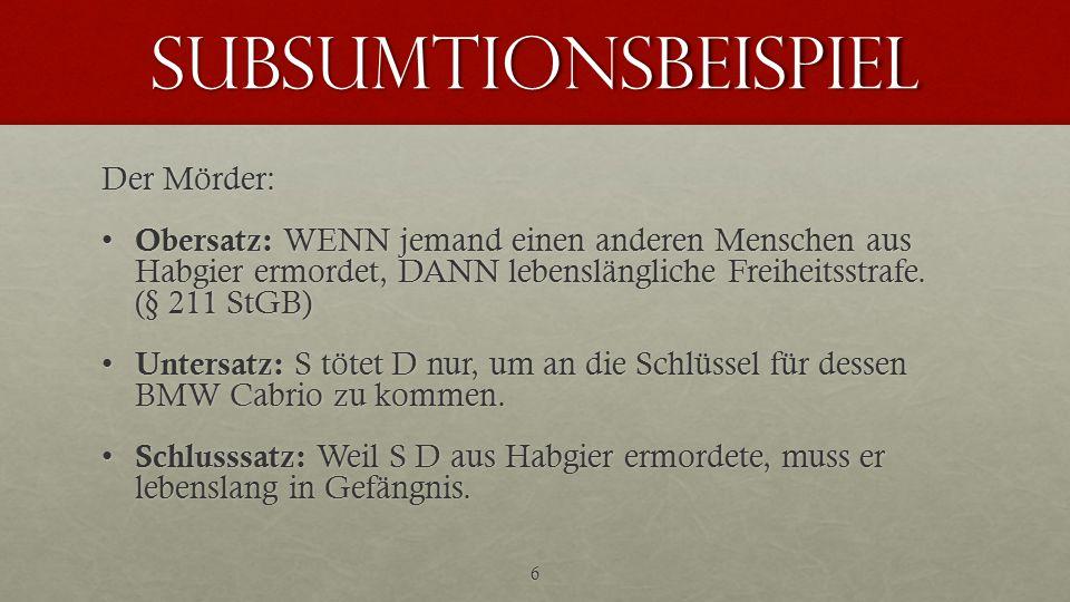 subsumtionsbeispiel Der Mörder: