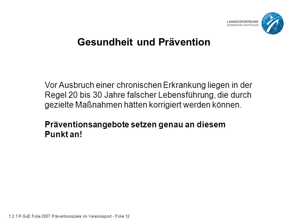 Gesundheit und Prävention