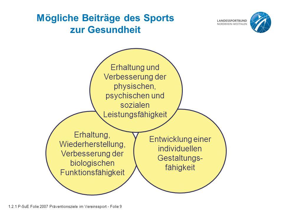 Mögliche Beiträge des Sports zur Gesundheit