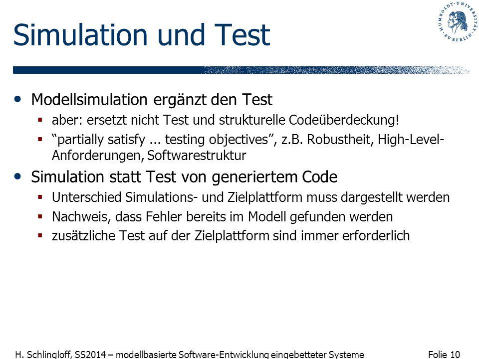 Simulation und Test Modellsimulation ergänzt den Test