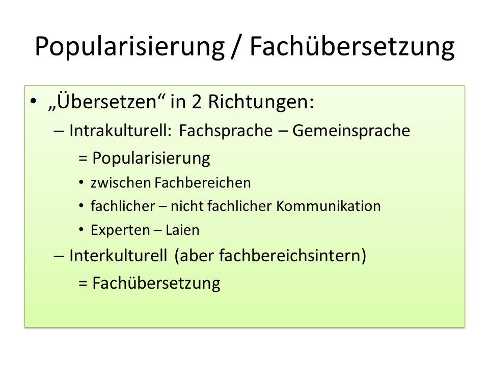 Popularisierung / Fachübersetzung
