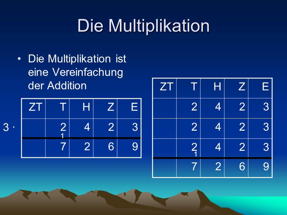 Die Multiplikation Die Multiplikation ist eine Vereinfachung der Addition. ZT. T. H. Z. E. 2.
