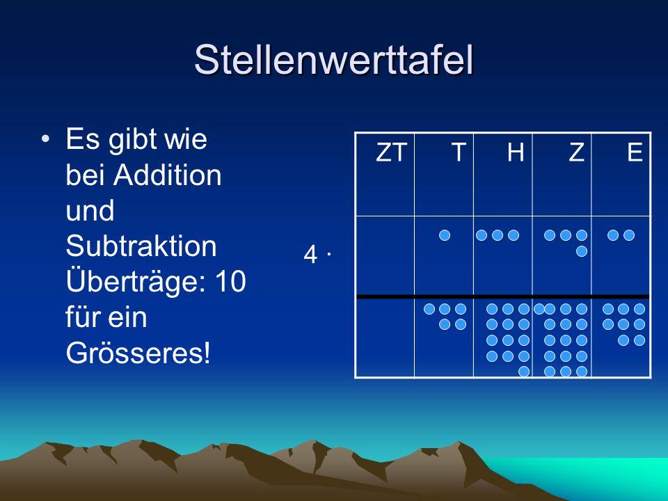 Stellenwerttafel Es gibt wie bei Addition und Subtraktion Überträge: 10 für ein Grösseres! ZT. T.