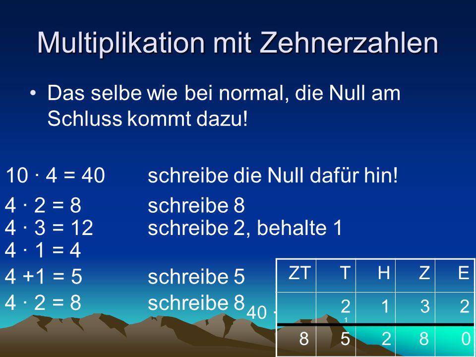 Multiplikation mit Zehnerzahlen