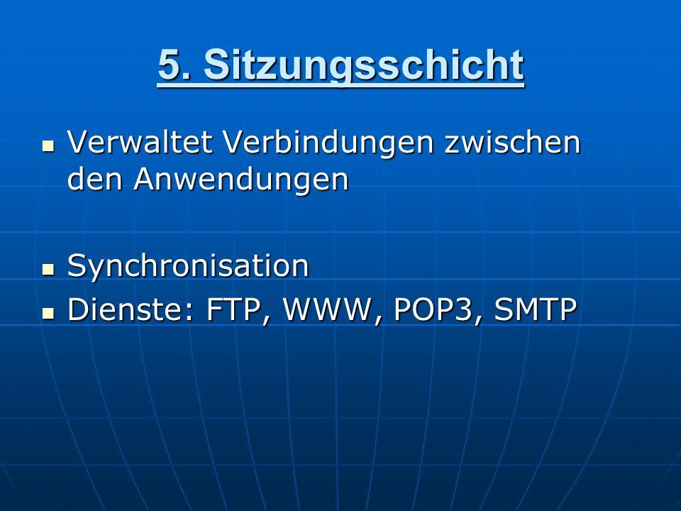 5. Sitzungsschicht Verwaltet Verbindungen zwischen den Anwendungen