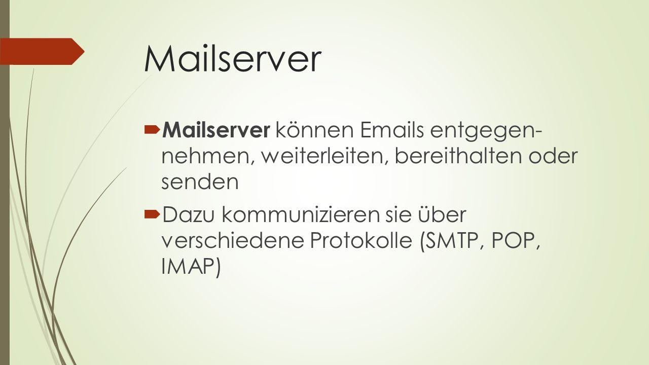 Mailserver Mailserver können Emails entgegen- nehmen, weiterleiten, bereithalten oder senden.