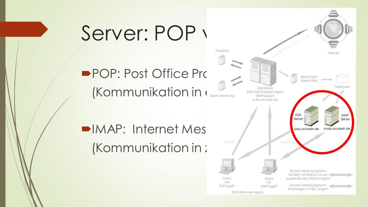 Server: POP vs. IMAP POP: Post Office Protocol
