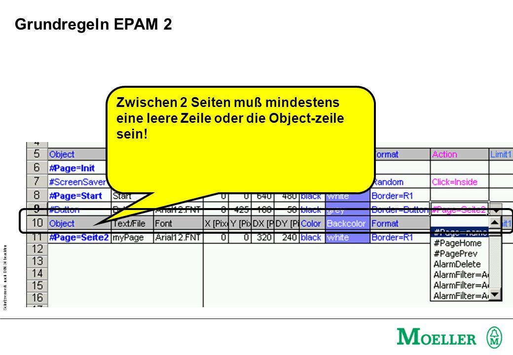 Grundregeln EPAM 2 Zwischen 2 Seiten muß mindestens eine leere Zeile oder die Object-zeile sein!