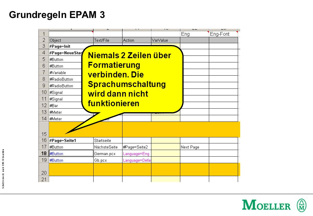 Grundregeln EPAM 3 Niemals 2 Zeilen über Formatierung verbinden.