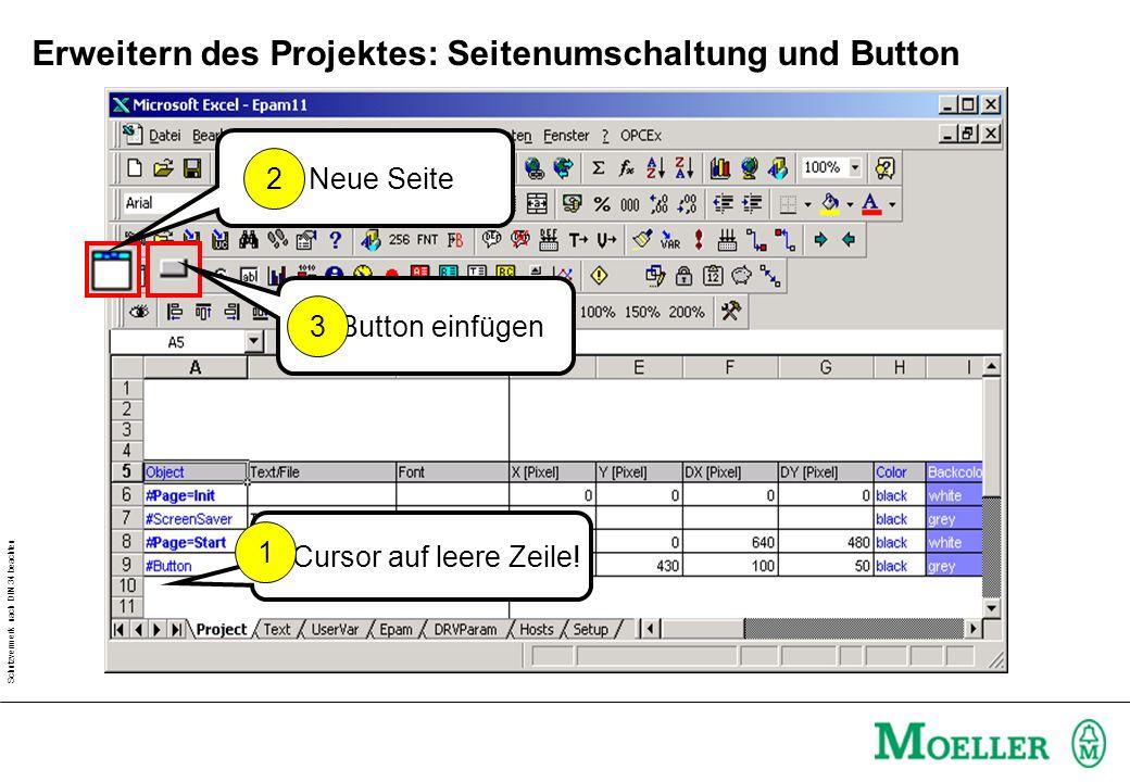Erweitern des Projektes: Seitenumschaltung und Button