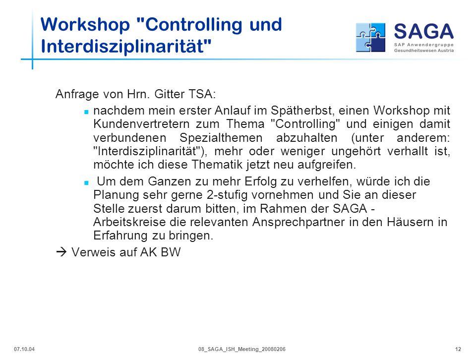 Workshop Controlling und Interdisziplinarität
