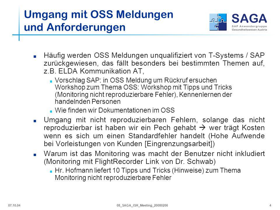 Umgang mit OSS Meldungen und Anforderungen