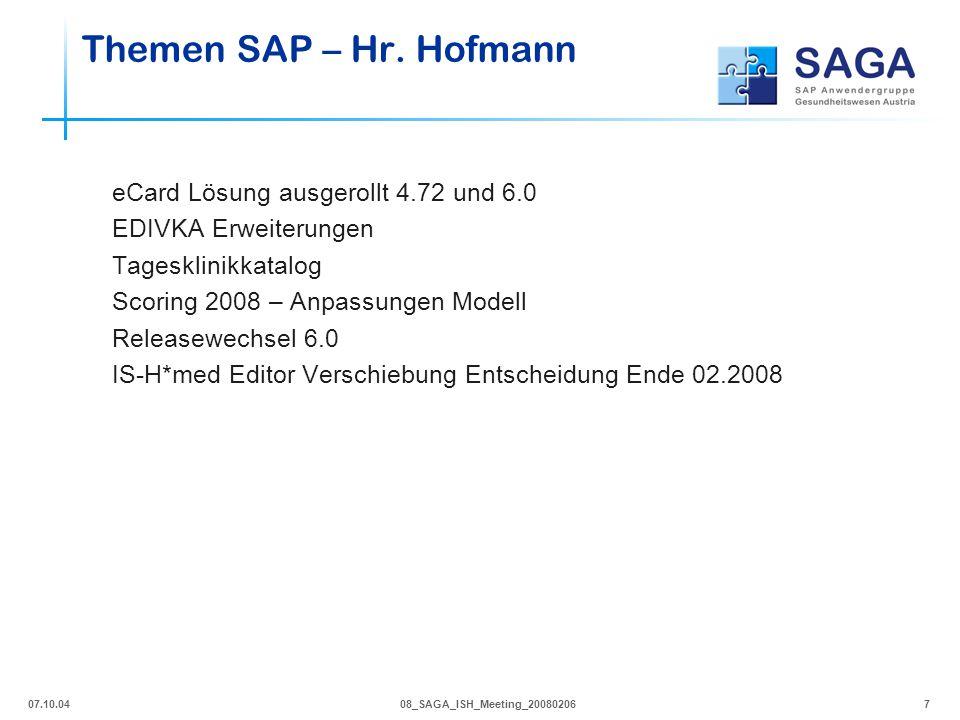 Themen SAP – Hr. Hofmann eCard Lösung ausgerollt 4.72 und 6.0