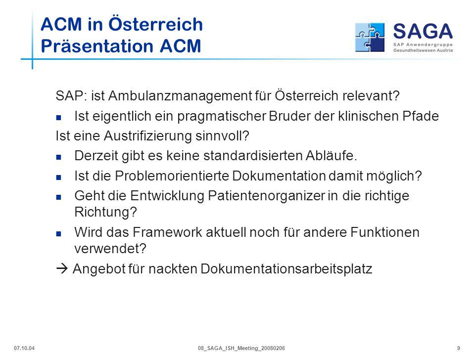 ACM in Österreich Präsentation ACM